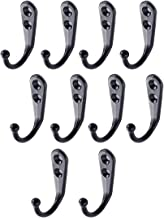 Enkele jas haken, 10 stuks wandmontage metalen kleding handdoek hoed sleutelhaken voor keuken, bad, garage, kantoor (zwart)