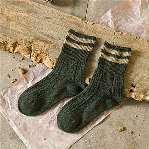 CHANQIDJIKMX Winter Frauen Socken,3 Paar Fashion Retro Wolle Frauen Socken Herbst Winter Wamer Baumwolle Mädchen Socken Weiblichen Tube Sock Studenten Strumpfwaren