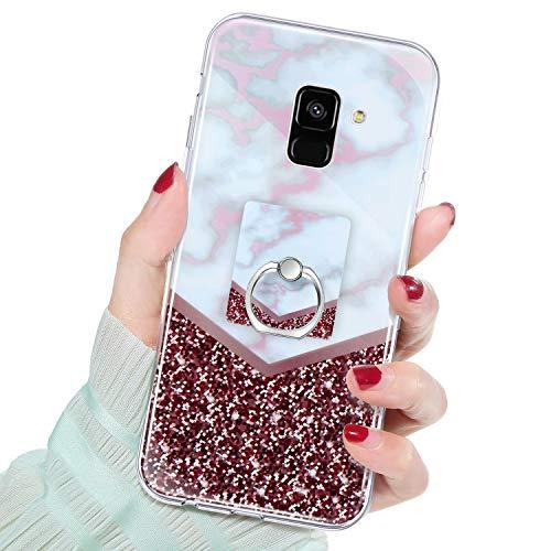 QPOLLY Kompatibel mit Samsung Galaxy A8 2018 Hülle,Glänzend Bling Glitzer Marmor Muster Schutzhülle mit Ring Ständer Weiches TPU Silikon Bumper Handyhülle Case für Galaxy A8 2018,#4