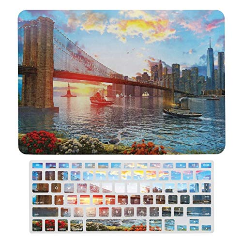 Laptop Case Protective Shell Set Brooklyn Bridge Plastic Hard Shell Case & Keyboard Cover Compatible with MacBook New Pro 13 touch (models: A1706、A1989、 A2159)