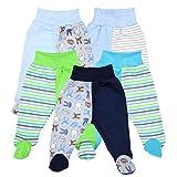 TupTam Pantalón con Pies de Bebé Pack de 5, Niño, 0-2 Meses(56cm)
