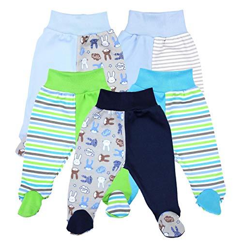 TupTam Baby Unisex Hose mit Fuß Bunte 5er Pack, Farbe: Junge, Größe: 56