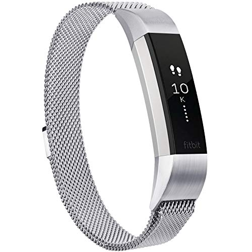 Meliya Metal Bands for Fitbit Alta & Fitbit Alta HR, Stainless Steel Magnetic Lock Replacement Wristbands for Alta & Alta HR Women Men Small Large (Small, Silver)
