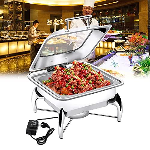 LYUQIU Chafing Dish Electrico, Calentador de Comida Alimentos de Acero Inoxidable para Buffet, Chafing Dish Bandeja (Full Size,1/2) 6L/9L/13L, Mantiene la Comida Caliente y Fácil del Limpiar