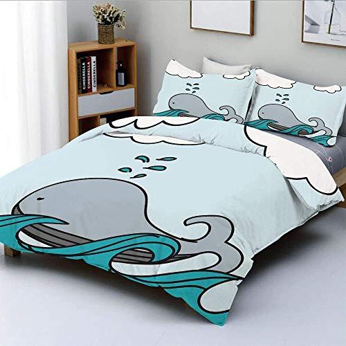 Juego de funda nórdica, ballena bebé flotante sobre las olas del mar, salpicaduras de vida silvestre, dibujos animados, arte infantil, juego de cama decorativo de 3 piezas con 2 fundas de almohada, el