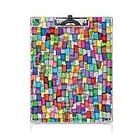 クリップボード A4 カラフルな正方形のキューブで抽象的なモザイク風のタイルパターンエネルギッシュな芸術的なデザイン装飾 かわいい画板 多色 A4 タテ型 クリップファイル ワードパッド ファイルバインダー 携帯便利
