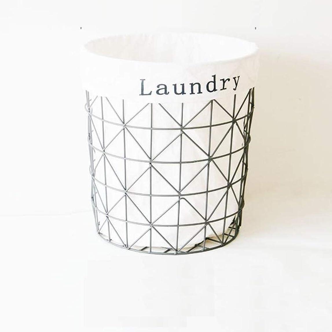 枕ディスパッチ恐れ収納ボックス 金属洗濯物用かごバスケットベッドルームランドリーバスケット収納バスケット、取り外し可能かつ簡単にきれいな内部では、黒とグレーの JKMQA (Color : Gray2)