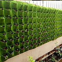 Forahome 植え袋 植物栽培バッグ 植え袋 壁 植物育成バッグ 吊り下げ袋 布プランター 草花 イチゴ 野菜 葉の植物 通気性 再利用可能 軽量 エコ 実用性 ((四つポケット)長さ80㎝*高さ22cm)