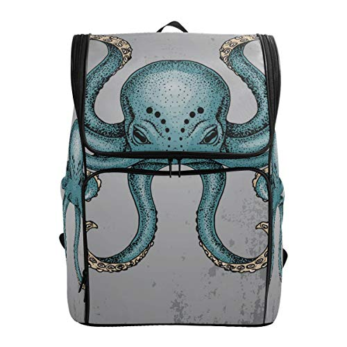 Mokale Blaue Krake Grunge Hintergrund Dotwork Tattoo,Rucksack Rucksack Reisetasche Wanderrucksack College Student School Bookbag Reisetasche für Männer oder Frauen