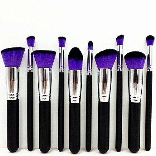 Set 10pcs Pro Pinceaux de Maquillage Contour Blending Pointillé Fond de Teint