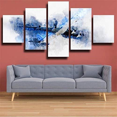 KOPASD Arts – 5 Piezas de Lienzo de Arte de Pared Plano Dibujar Plano Blanco Cuadros de Lienzo Moderno Giclée para decoración del hogar (tamaño Grande 200 x 100 cm)