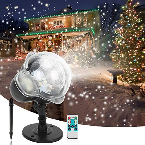 LEDshope Snowfall Projector LED Lights Wireless Remote, IP65 Waterproof Rotatable White Snow For Valentines Day Christmas Halloween Holiday Party Wedding Garden New Year House Landscape Decorations