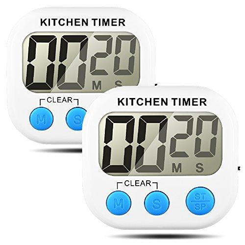 Senhai Timer da Cucina, conteggio up/Down Grande Display LCD elettronico Timer Memoria-2 Pack