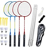 Airsnigi - Set di racchette da badminton per 4 persone, set da badminton con rete per giardino, facile installazione, per adulti e bambini, famiglia, Set da badminton per 4 giocatori.