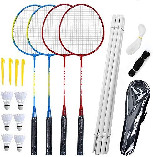 Airsnigi Badmintonschläger-Set, 4 Personen Badminton-Set mit Netz für Garten, einfache Einrichtung Badminton, für Kinder Familie, inklusive Schläger und Federbälle