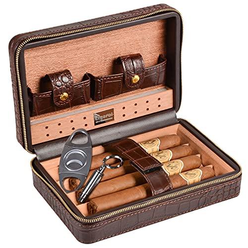 Volenx Cave à cigares en cuir de crocodile avec Humidificateur en gel de cristal, Coupe-cigares, Étui à cigare-5cigares marron