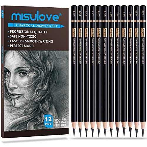 MISULOVE Professional Charcoal Pencils Drawing Set