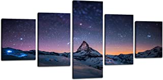 night sky mountains painting