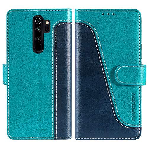FMPCUON Handyhülle für Xiaomi Redmi Note 8 Pro Hülle Leder,Premium Klapphülle Handytasche Flip Hülle Handy Hüllen Schutzhülle für Redmi Note 8 Pro,Blau/Grün