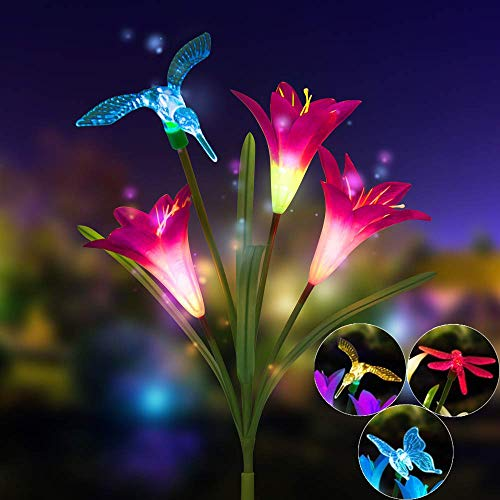 Watopi - Luces solares vívidas al aire libre impermeables LED Lily Dragonfly Butterfly flores Farbic jardín estaca luces púrpura rayo impermeable al aire libre ideal para jardín, patio valla yarda