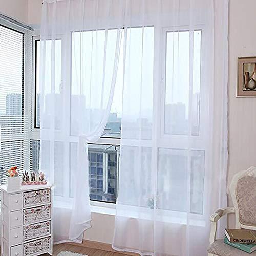 gardinen Weiss gardine mit kräuselband Moderne Voile Panels Voile Vorhang Panel Wohnzimmer Energiesparende Privatsphäre Schutz net Vorhang 100X200,White