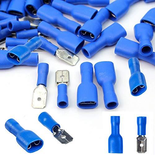 Wadoy Kabelschuhe x 100 - Flachstecker Blau x 50 / Flachsteckhülsen Blau x 50 - Steckmaß 6,3 mm, Quetschverbinder, Isolierte - Für Kfz, Elektronik und Hobby - KOSTENLOSER VERSAND!