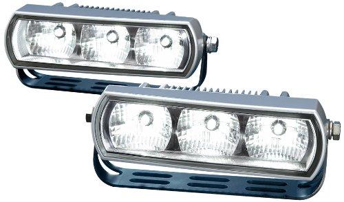 HELLA 2PT 009 496-801 Tagfahrleuchtensatz - LED - LED-Lichtfarbe: weiß - 12V/24V - glasklar - Anbau