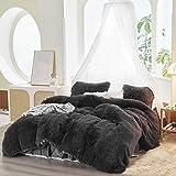 FlySheep 3 Piece Luxury Plush Shaggy Duvet Cover Set Ultra Soft Fluffy Bedding Sets, Super Warm for Winter, Zipper Close (Dark Gray Like Black, Queen)