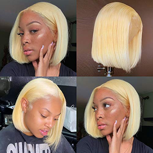 613 Blonde Bob Wig Virgin Human Hair Pre Plucked 10 Inches Silky Straight 13x1x4 Lace Front Wigs with Baby Hair Middle Part 150% Density Bleached Knots 613 Bob Wigs for Women (Take Color Well)