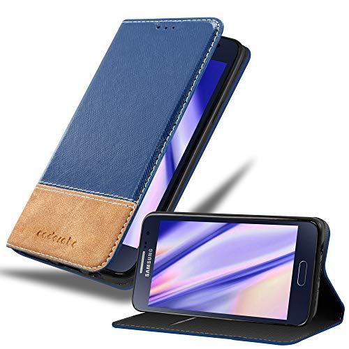 Cadorabo Custodia Libro per Samsung Galaxy A3 2015 in Blu Scuro Marrone - con Vani di Carte, Funzione Stand e Chiusura Magnetica - Portafoglio Cover Case Wallet Book Etui Protezione