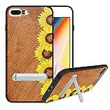 HHDY Funda de Madera para iPhone 7 Plus/iPhone 8 Plus, Carcasa Kickstand con Soporte de Metal, Case Cover Madera Real+TPU Bumper Caso Funda para iPhone 7 Plus/iPhone 8 Plus, Sunflower