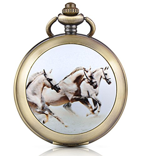 Unendlich U DREI Laufende Pferde Handaufzug Mechanische Taschenuhr Schwarzes Zifferblatt Skelettuhr Pullover Halskette Foto Medaillon, beide Ketten