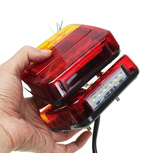 2 PCS LED Lumière Arrière Queue Feu De Frein Stop Lumière Clignotant Numéro Plaque Lampe Pour Remorque Camion Véhicule Récréatif (Couleur: Rouge + Ambre + Noir)