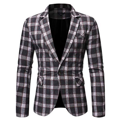 Plot Herren Anzug Jacke Sakko Blazer Gitter EIN-Knopf Anzugjack Mäntel Slim Fit Herrenanzug Casual Tops für Hochzeit Business Freizeit Party