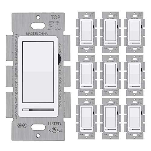 [10 Pack] BESTTEN Dimmer Wall Light Switch, Single Pole or 3-Way, Compatible with Dimmable LED, CFL, Incandescent and Halogen Bulb, 120VAC, UL Listed