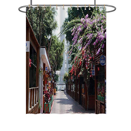 CUDEVS Pedestrian Way in Miraflores District of Lima Where There are Pizza Restaurants and Italian Food,Bathroom Decor Set with Hooks 72x84