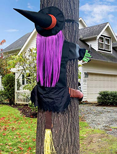 UMiLOR Large Size Crashing Witch into Tree for Halloween Indoor Outdoor Door Porch Pole Garden Decorations, Funny Ornaments for Tree with Long Strap