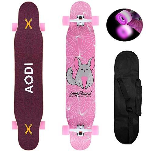 AODI 46' Longboard Skateboard Complete Canadian Maple Wood Double Kick Concave Maple Pro Beginner...