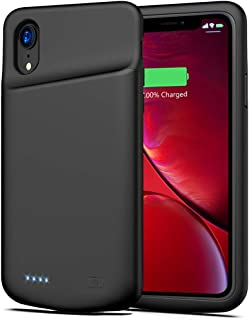 Battery Case for iPhone XR, 6000mAh Portable Charger Case Protective Extended Battery Pack for iPhone XR Charging Case for iPhone XR Power Bank (6.1 inch) Ultra-Thin- Black