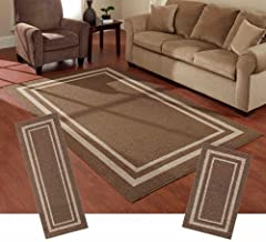 Mainstays Frame Border 3-Piece Area Rug Set (Brown)