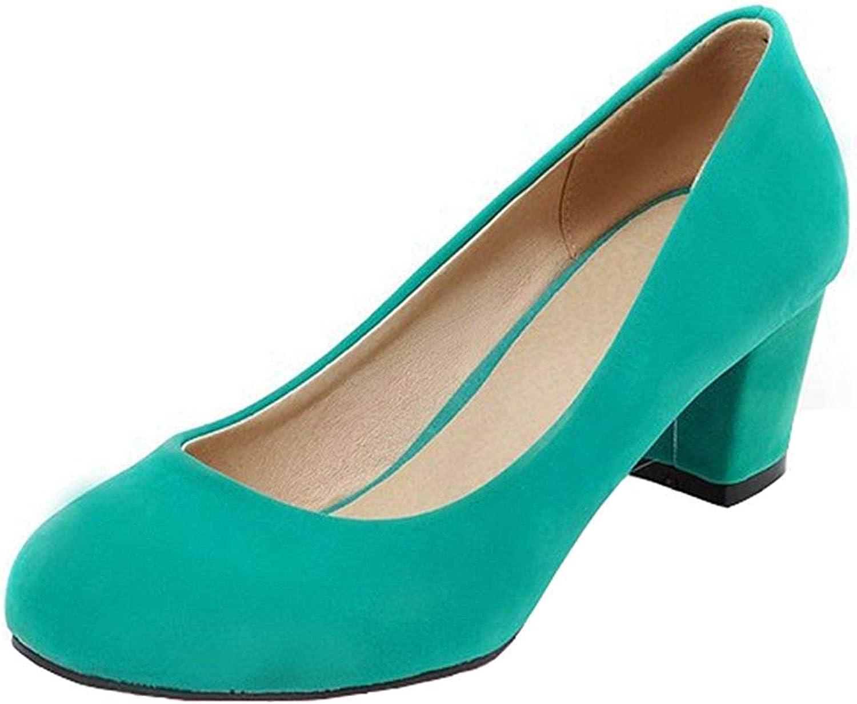 Lelehwhge Women's Classic Faux Suede Low Cut Slip On OL Work shoes Medium Block Heel Pumps Green 4.5 M US