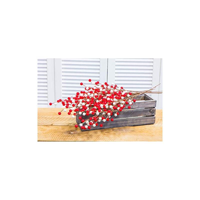 silk flower arrangements collection by tiffany artificial berry sprays | 12 sprays | hand wrapped l home decor l flower decor l wedding decor l christmas décor l indoor décor (white red)