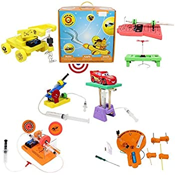 Butterflyfields STEM Toys for Kids 8 10 Years to 12 Years Boys Girls Learning Toys 5in 1 Combo DIY Physics Kits for Kids Air Shooter Toy, Disk Brake, Magnetic Toy Train, Circuits Board, Mine Detector