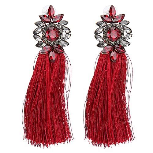1 Paio di Orecchini a Nappa, Orecchini a Forma di Fiore di Diamante di Cristallo con Nappa Colorata Ciondola, Orecchini di Temperamento Alla Moda per Donne E Ragazze(rosso)