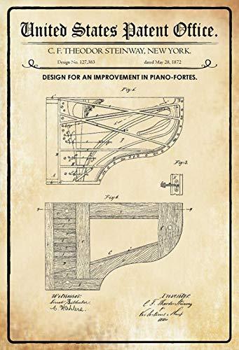 FS Patent Ontwerp Piano Steinway Fortes metalen bord gebogen metalen teken 20 x 30 cm