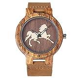 Leyue Reloj de Madera, Personalizado 3D Estéreo Estéreo Patrón de Caballo Salud Natural Y Protección Ambiental Reloj de Bambú, Unisex Mejor DYF Regalo (Color: Marrón) (Color : Brown)