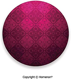 Ornamental Dated Feminine Rectangular Forms Background Damask Past,Fashion Coasters For Drinks Absorbent Maroon Fuchsia,3.9×0.2inches(8PCS),Suit All Types Of Glasses
