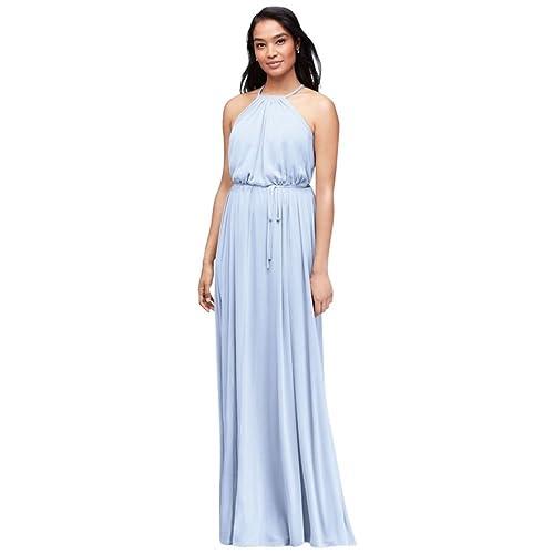 2e7cdda6be Bridesmaid Soft Mesh Halter Bridesmaid Dress with Slim Sash Style F19533