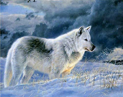 Kit de pintura a óleo faça-você-mesmo por números para crianças adultos iniciantes - Desenho de lobo de neve solitário com pincéis, decoração de casa, presentes 40,64 x 50,8 cm (sem moldura)