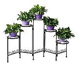 HLC - Soporte para plantas de 5 niveles, de metal, interior y exterior, forma de S, negro, A